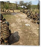 U.s. Marines Provide Security Canvas Print