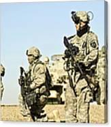U.s. Soldiers Conduct A Combat Patrol Canvas Print