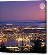 Vancouver At Night, Time-exposure Image Canvas Print