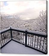 View From A Deck After A Recent Snow Canvas Print