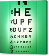View Of A Snellen Eye Test Chart Canvas Print