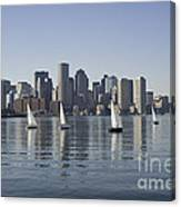 View Of Boston Skyline From Boston Harbor Canvas Print