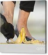 Walking On Banana Peel Canvas Print