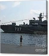 warship in Peterburg Canvas Print