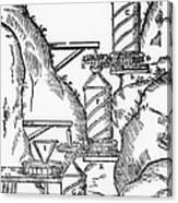 Watermill, Reversed Archimedean Screw Canvas Print