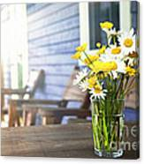 Wildflowers Bouquet At Cottage Canvas Print