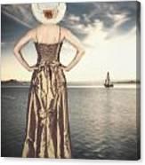 Woman At The Lake Canvas Print