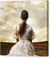 Woman On A Meadow Canvas Print