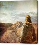 Woman Walking On Top Of Sand Dunes Canvas Print