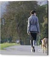 Woman Walking With Her Dogs Canvas Print