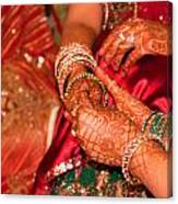 Women With Decorated Hands Holding Hands In A Hindu Religious Ceremony Canvas Print