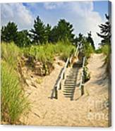 Wooden Stairs Over Dunes At Beach Canvas Print
