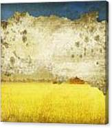 Yellow Field On Old Grunge Paper Canvas Print