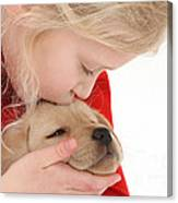 Young Girl With Yellow Labrador Canvas Print