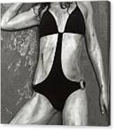 Young Woman With Rope Bondage Standing At A Window Canvas Print