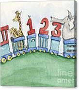 123 Animal Train Canvas Print