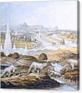 1854 Crystal Palace Dinosaurs By Baxter 2 Canvas Print