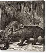 1863 Figuier Iguanodon And Megalosaurus Canvas Print