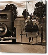 1934 Chevy And Today's Horse And Buggy By Randall Branham Canvas Print
