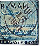 1946 Oakland Bay Bridge Air Mail Stamp Canvas Print