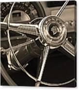 1953 Pontiac Steering Wheel - Sepia Canvas Print