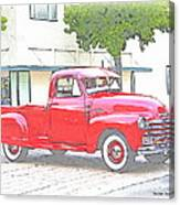 1953 Red Chevy Pickup Truck Canvas Print