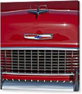 1955 Chevrolet 210 Hood Ornament And Grille Canvas Print
