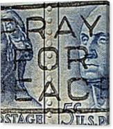1962 Pray For Peace Stamp Collage Canvas Print