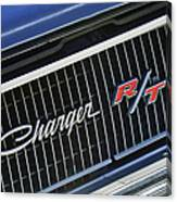1968 Dodge Charger Rt Coupe 426 Hemi Upgrade Grille Emblem Canvas Print