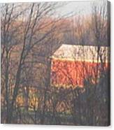1nov2012 Sunrise On Red Barn Canvas Print