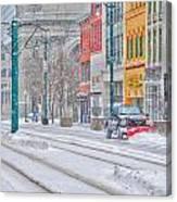 1st Real Snowfall Plow 2012 Canvas Print