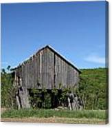 Abandoned Old Farm Building With Blue Sky Canvas Print