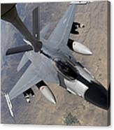 An F-16 Fighting Falcon Receives Fuel Canvas Print