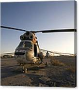 An Iraqi Helicopter Sits On The Flight Canvas Print