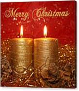 2 Candles Christmas Card Canvas Print