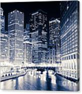 Chicago River Buildings At Night Canvas Print