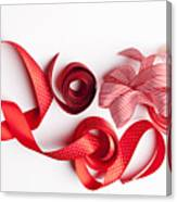 Close Up Of Decorative Red Ribbons Canvas Print