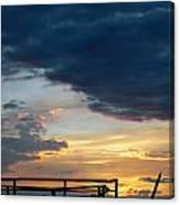 Destroyed  Pier Sea Sunset Canvas Print