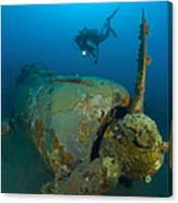 Diver Explores The Wreck Canvas Print