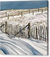 Drifting Snow Along The Beach Fences At Nauset Beach In Orleans  Canvas Print