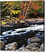 Fall Forest And River Landscape Canvas Print