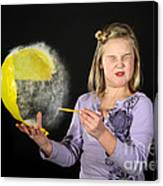 Girl Popping A Balloon Canvas Print