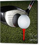 Golf Ball And Club Canvas Print