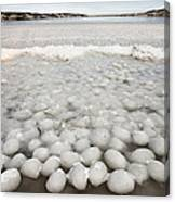 Ice Forming On Lake Canvas Print