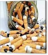 Jar Overflowing With Cigarette Butts Canvas Print