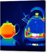 Kettle And Teapot, Thermogram Canvas Print