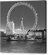 London Skyline Edf Eye Bw Canvas Print