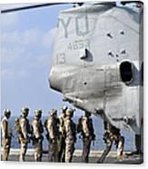 Marines Board A Ch-46e Sea Knight Canvas Print