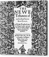 New Testament, King James Bible Canvas Print