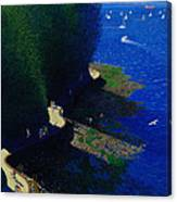 North Seawall At Low Tide Canvas Print
